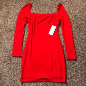 Red Long Sleeved Bodycon Dress